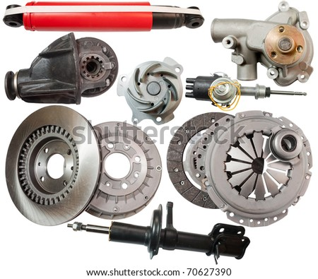 Set of automobile  parts. Isolated on white with clipping path - stock photo