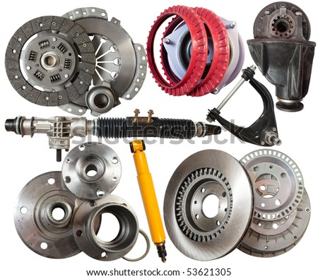 Set of automotive parts. Isolated on white with clipping path - stock photo