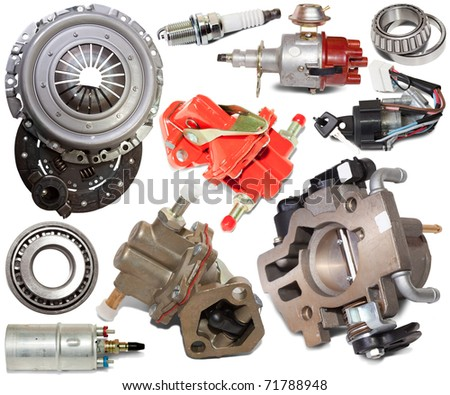 Set of automotive spare parts. Isolated on white background - stock photo