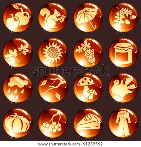 Set of autumn icons (jpg); vector version also available - stock photo