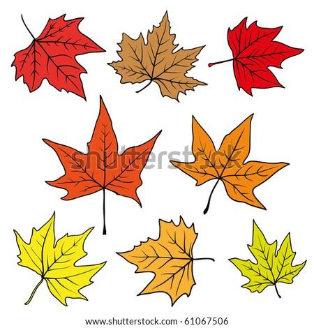 set of autumn leaves.raster - stock photo