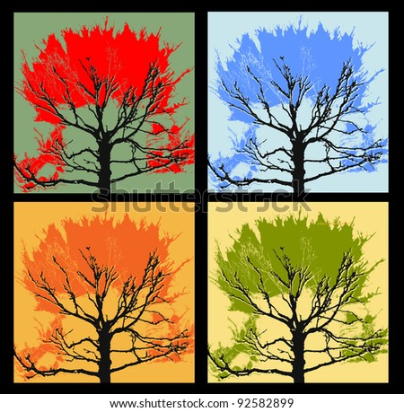 set of 4 autumn trees, backgrounds for text