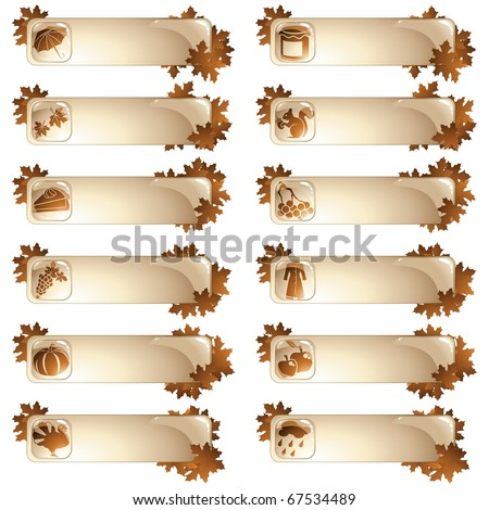 Set of 12 autumnal labels (jpg); vector version also available - stock photo