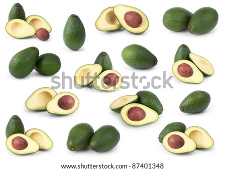 Set of avocados isolated over white background
