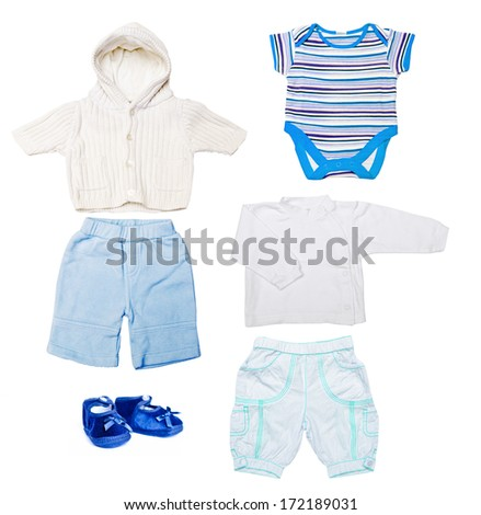 set of baby boy clothes in blue and white isolated on white background - stock photo
