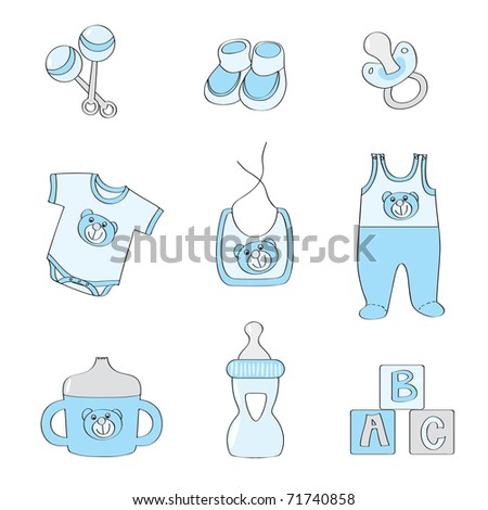 Set of baby elements - blue color for boys - raster version of vector 69802876 - stock photo