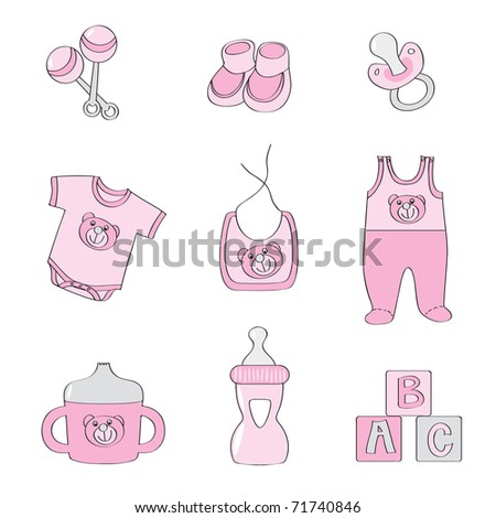 Set of baby elements - pink color for girls - raster version of vector 69947449 - stock photo