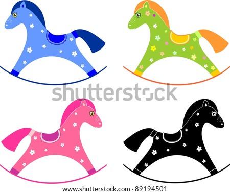 Set of baby horse toy. Rocking horse isolated on White background ...