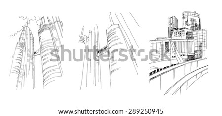 Set of backgrounds with freehand drawings of city - stock photo