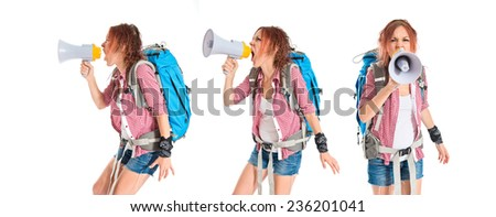 Set of backpacker shouting by megaphone over white background - stock photo
