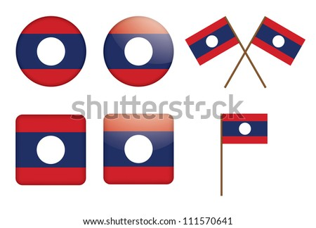 set of badges with flag of Laos illustration