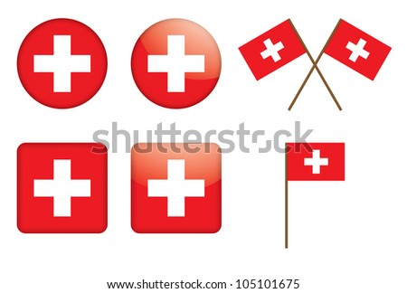 set of badges with Swiss flag illustration - stock photo