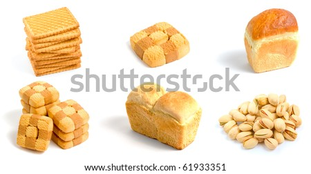 Set of bakery isolated