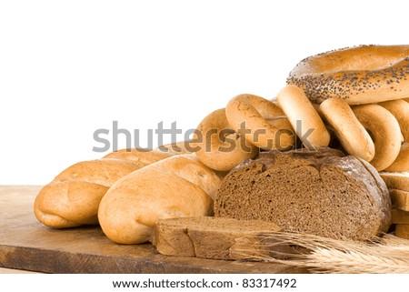 set of bakery products isolated on white background - stock photo