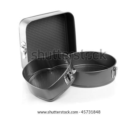 Set of baking tins, isolated on white background - stock photo