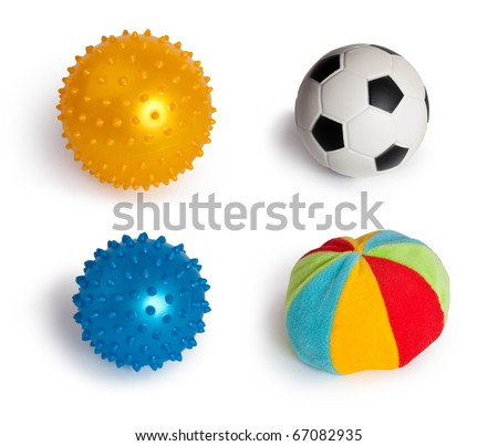 Set of balls isolated on a white background