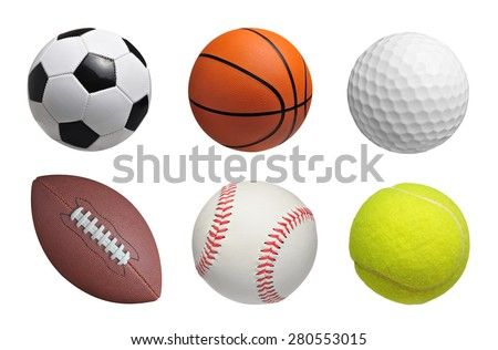 Set of balls isolated on white background - stock photo