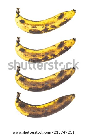 Set of banana different colour - stock photo