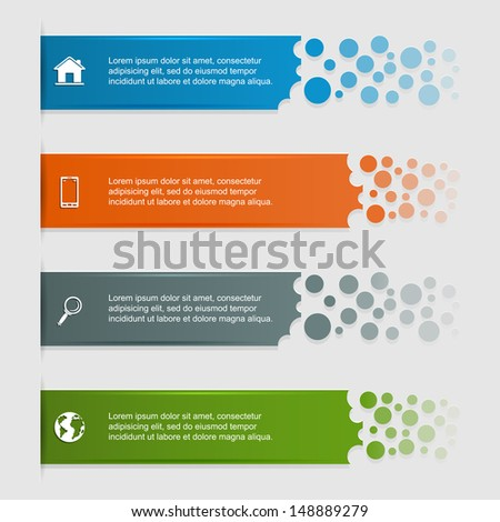 Set of banners, can be used for infographics, diagram, vertical lines, step up options, web template, illustration. - stock photo