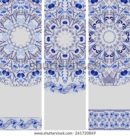 Set of banners in ethnic style. Blue floral pattern.  - stock photo