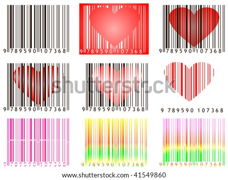 Set of bar codes with hearts useful for valentine's day isolated on white - stock photo