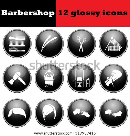 Set of barbershop glossy icons.  Raster illustration. - stock photo
