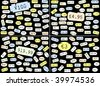 Set of basic price stickers in dollars, sterling, euros and yen - stock photo