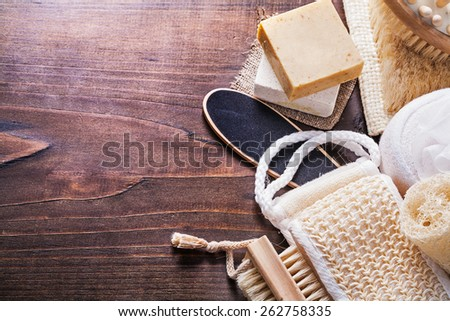 set of bath items on vintage wooden boards with organized copyspace  - stock photo