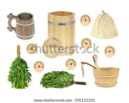 Set of bathing, sauna accessories: barrel, drum, busket, ladle, mug,  cap, hat, broom, the thermometer isolated on a white background - stock photo