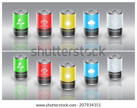 set of batteries charged with renewable energy - stock photo