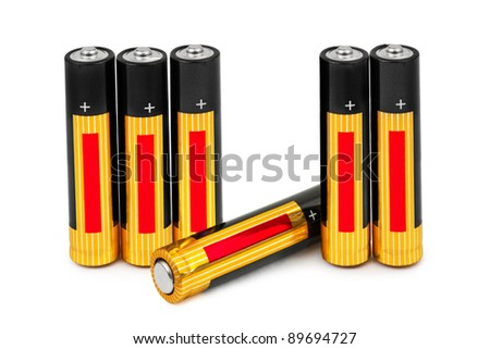 Set of batteries isolated on white background - stock photo