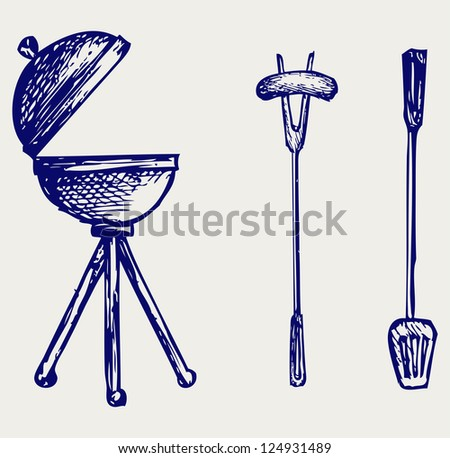 Set of bbq objects. Doodle style. Raster version - stock photo