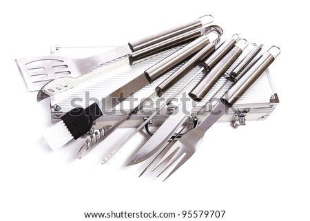 set of BBQ tools - stock photo