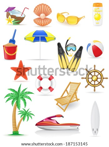 set of beach icons illustration isolated on white background