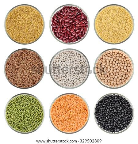 Set of beans isolated on white background. Bulgur, red kidney beans, cous cous, green lentil, white bean, chickpea, green mung bean, red lentil, black bean. - stock photo