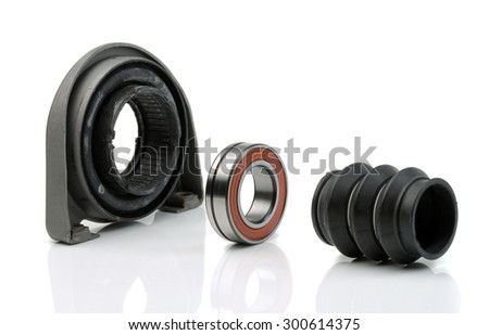Set of bearing of the propeller shaft support bearing and shaft seal. Studio, isolate on white. - stock photo
