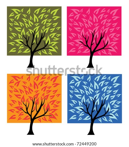 set of beautiful abstract trees in four season colors