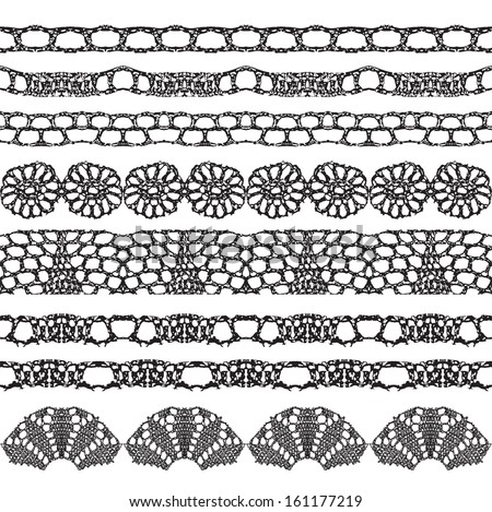 Set of beautiful crochet trims. Can be used for use with backgrounds or scrap-booking.