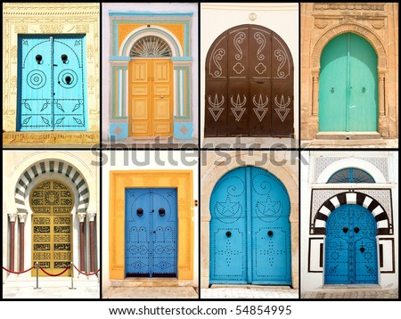 Set of beautiful decorative doors of Tunisia, Africa - stock photo