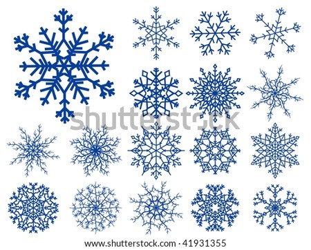 Set of beautiful different snowflakes isolated on white