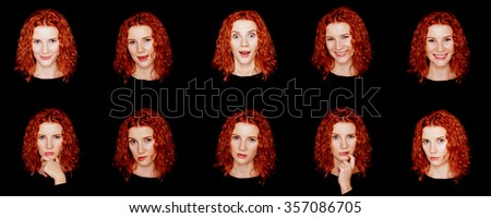 Set of beautiful emotional woman over dark background. Redhead curly hair girl with different emotions. - stock photo