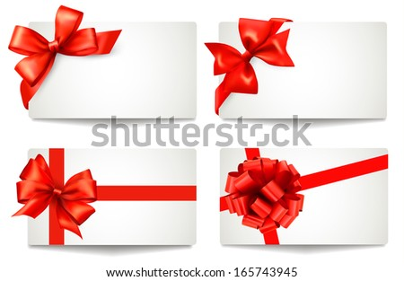Set of beautiful gift cards with red gift bows with ribbons. Raster version of vector