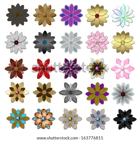 Set of beautiful  glass flowers illustration  - stock photo