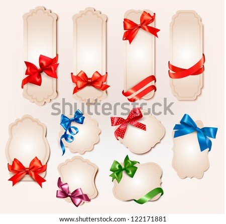 Set of beautiful retro labels with colorful gift bows with ribbons. Raster version of vector. - stock photo