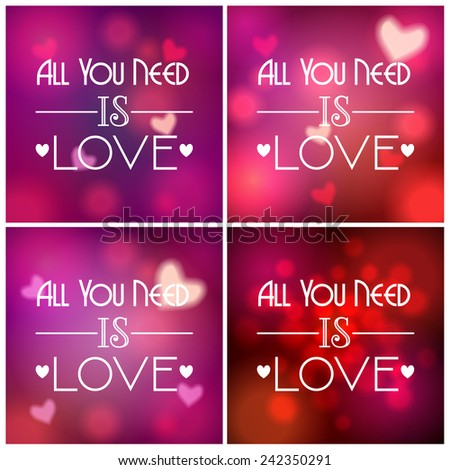 Set of beautiful soft focus, bokeh, glittering Valentine's Day background illustrations  with text - stock photo