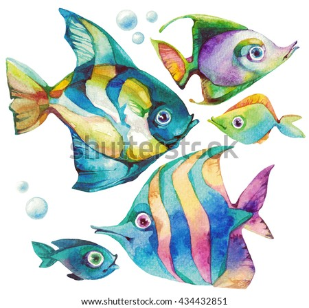 Set of beautiful tropical fishes. Stunning watercolor stains. Amazing juicy colors. Naturalistic fish with a fabulous exotic coloration. Set 2
