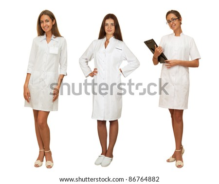 set of beauty doctor women isolated on a white background.