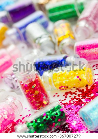 Set of beauty glitter makeup and nail art, selective focus - stock photo