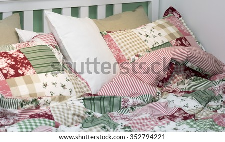 Set of bed linen. Cotton underwear spread out on the bed.