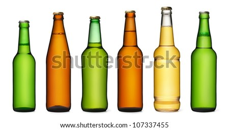 Set of beer bottles. isolated on white background - stock photo
